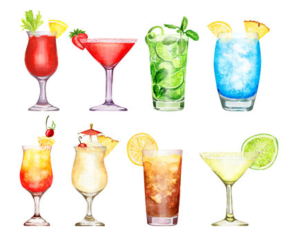 Hand drawn watercolor cocktail set isolated on white background