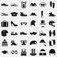 Fashion clothes icons set. Simple style of 36 fashion clothes vector icons for web for any design