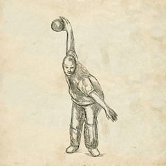 Bowling - An hand drawn illustration on old paper in vintage style. Freehand sketching, retro.