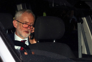 Britain's opposition Labour Party leader Jeremy Corbyn leaves the Houses of Parliament in London