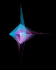 Abstract Glowing Geometric Shape On Black Background