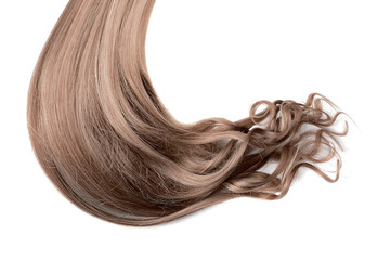 Long wavy brown hair on white background
