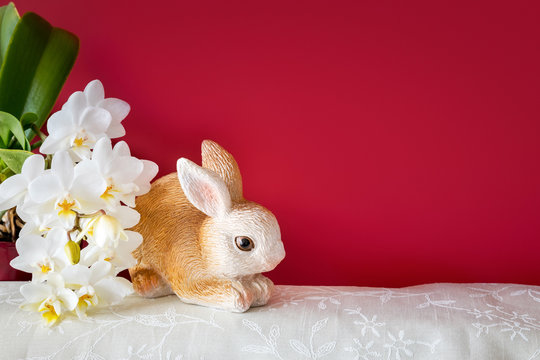 Easter decoration rabbit and orchid blossoms