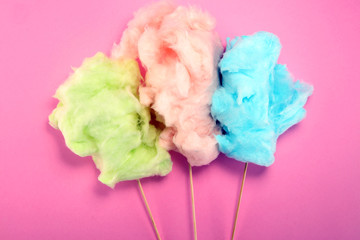 colorful cotton candy floss. sweet party food in pink and green
