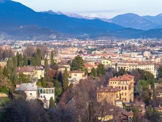 above view of residential quarters of Bergamo city