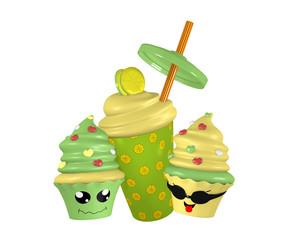 Zitronen Milchshake mit lustigen Kawaii Cupcakes. 3d Render