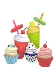 Cupcakes und Milchshakes in verschiedenen Sorten. 3d Render