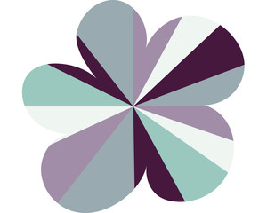 large geometric modern flower on white background