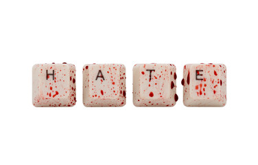 Word hate formed with bloody computer keyboard keys