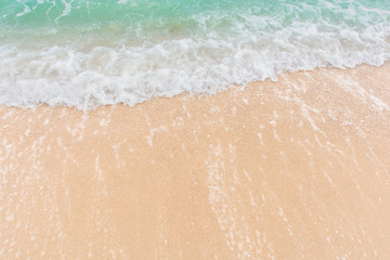 Soft wave of sea on empty sandy beach Background with copy space Wall mural