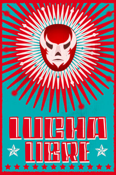 Lucha Libre, Wrestling Spanish text Mexican wrestler Mask Silkscreen style poster