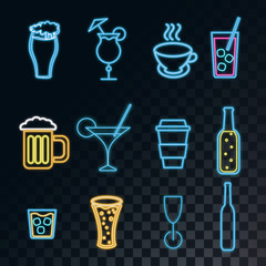 A set of neon bright glowing icons for a bar of cocktails, beer, glasses, coffee, tea, mugs, bottles of whiskey on a translucent dark in a squared black background from squares. Vector illustration.