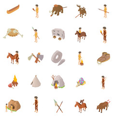 People of past icons set. Isometric set of 25 people of past vector icons for web isolated on white background