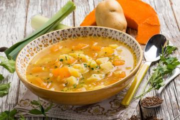 pumpkin soup with potatoes leek and cumin