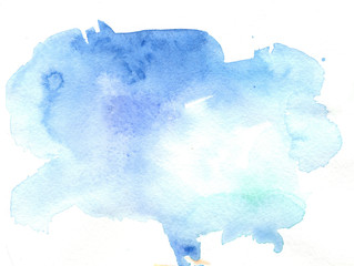 handmade watercolor abstract blue stain background