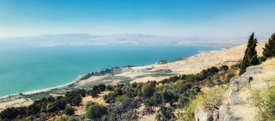 Beautiful fields and mountains around the Sea of Galilee