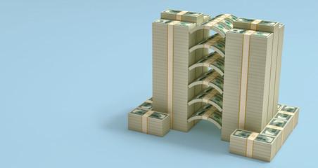 Stacks of 100 Dollar bills - 3D Rendering