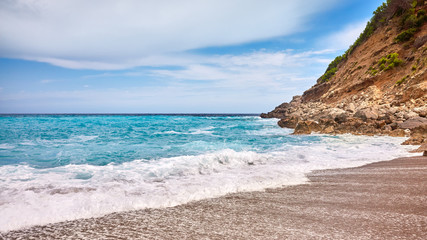 Wall Mural - Panoramic view of the Coll Baix beach on Mallorca, Spain.