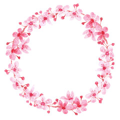 Watercolor wreath with branch of delicate pink blooming flowers, bud and leaves isolated on white background. branch of cherry blossoms.