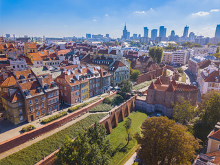 Warsaw aerial View - Skyline of the City - Panorama of Center and Old Town