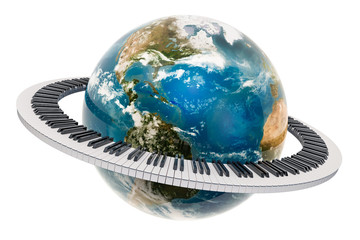 Earth Globe with piano keyboard around, music concept. 3D rendering