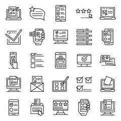 Online vote icons set. Outline set of online vote vector icons for web design isolated on white background