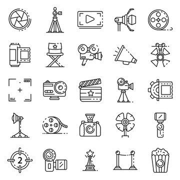 Film production icons set. Outline set of film production vector icons for web design isolated on white background