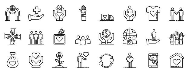 Volunteering icons set. Outline set of volunteering vector icons for web design isolated on white background Wall mural