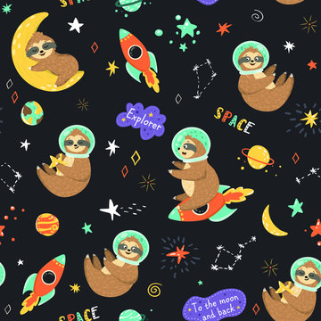 Seamless space pattern with funny sloth astronaut, stars, planets, rockets. Childish print with cartoon cute baby sloths sleeping on the moon, sit on the rocket, holding star. Kids vector background