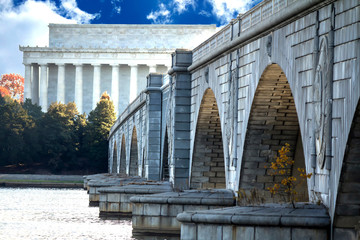 The Lincoln Memorial and the Arlington Memorial Bridge stretching over the Potomac River into Washington DC from the Mount Vernon Trail Wall mural