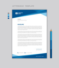 letterhead template vector,  minimalist style, printing design, business template, flyer layout, Blue concept background