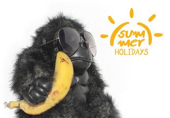 Fotorolgordijn Aap funny monkey and summer holidays symbol