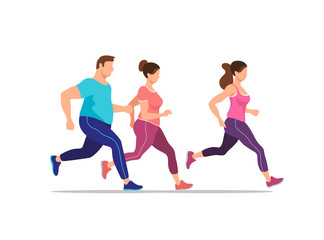 Group of people running exercising together. Health and fitness. Vector illustration.