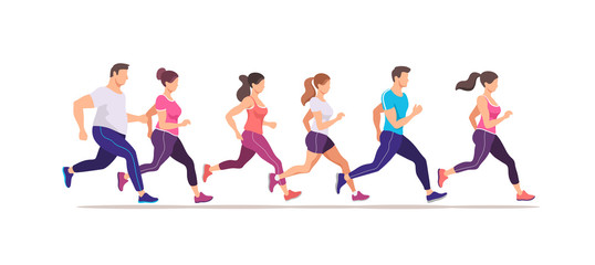 Jogging people. Runners group in motion. Running men and women sports background. Training to marathon. Trendy style vector illustration.
