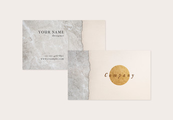 Business Card with Textured and Metallic Background Elements