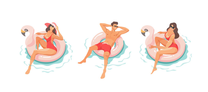 Young people relaxing In swimming pool in the summertime. Vector illustration.