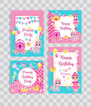Happy birthday set greeting or invitation cards for a little princess in lol doll surprise style. Template for your design with princess, her pet pony and accessories. Vector illustration.