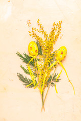 Happy Easter greeting card with mimosa