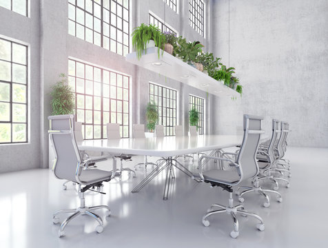 Modern white meeting and conference room 3D Rendering