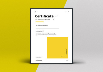 Award Certificate Layout with Yellow Accents