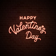 Happy Valentines Day. Neon wire lettering inscription on dark red brick wall background. Glowing pink cable illuminated text. Valentine's card design decoration. 1980 style bright vector illustration.