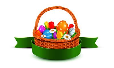 Osterkorb mit bunt bemalten Ostereiern, Tulpen und Banderole
