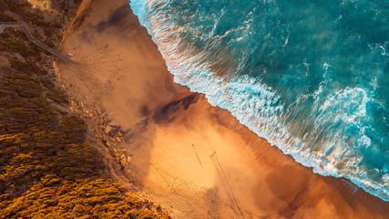Fotobehang Groen blauw Aerial Australian Beach Landscape, Great Ocean Road
