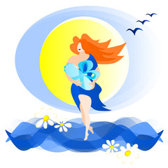 A woman in a blue dress and red hair carries a baby