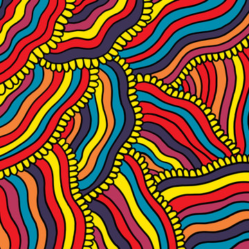 Colorful psychedelic background with stripes. Cartoon hand drawn artwork. Vector illustration