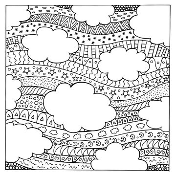 Doodle summer sky with ornaments. Hand drawn coloring page for adults. Vector illustration