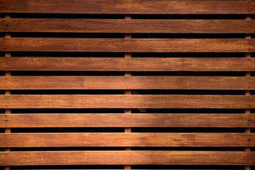 Horizontal wood slats, natural wood grain, sunshine reflection