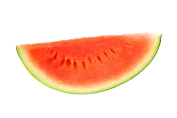 single sliced fresh seedless watermelon isolated on white background