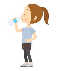 ペットボトルで水を飲む女性 02 全身