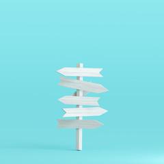 Signpost on pastel blue background. 3d rendering